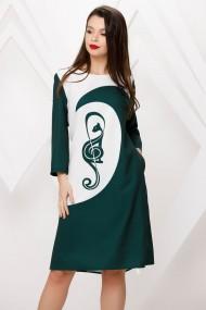 Rochie Bria verde cu alb si imprimeu