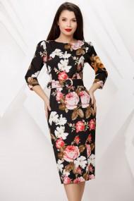 Rochie Anais neagra cu imprimeu floral