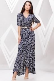 Rochie de zi lunga Ejolie bleumarin cu imprimeu gri si volane