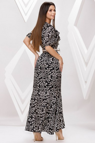 Rochie de zi lunga Ejolie neagra cu imprimeu gri si volane