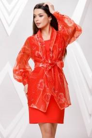 Rochie de seara midi Ejolie portocalie cu blazer detasabil din organza