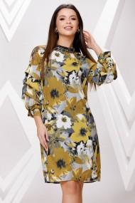 Rochie de zi midi Ejolie gri cu imprimeu galben