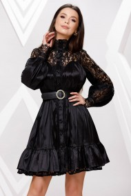 Rochie de seara scurta Ejolie neagra cu volan si insertii din dantela