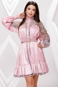 Rochie de seara scurta Ejolie roz cu volan si insertii din dantela