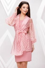 Rochie de seara midi Ejolie roz cu blazer detasabil din organza
