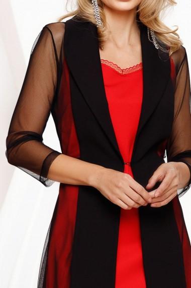 Rochie de seara scurta Ejolie rosie cu blazer negru