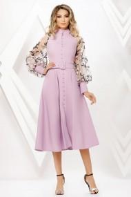 Rochie de zi midi Ejolie lila cu maneci bufante si nasturi tip perla