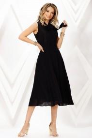 Rochie de seara midi Ejolie neagra, plisata din voal cu esarfa