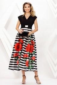 Rochie lunga Ejolie neagra cu fusta din tafta imprimata