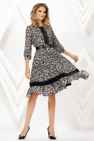 Rochie de zi midi Ejolie neagra cu animal print si detalii din dantela