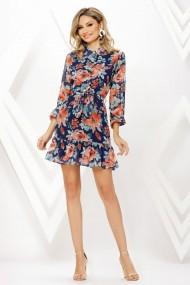 Rochie de zi midi Ejolie bleumarin din voal cu imprimeu corai