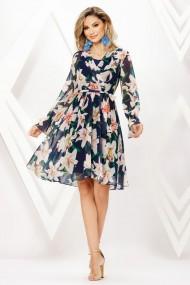 Rochie de zi midi Ejolie bleumarin din voal cu imprimeu