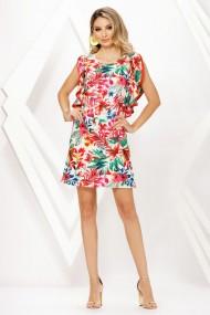 Rochie de zi midi Ejolie cu imprimeu floral rosu