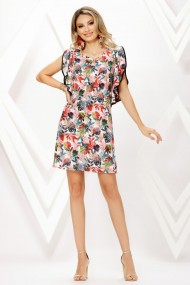 Rochie de zi midi Ejolie cu imprimeu frunze