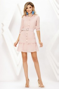 Rochie de zi midi Ejolie roz pal tip camasa cu volan