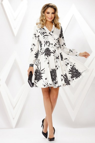 Rochie de zi midi Ejolie alba cu imprimeu negru