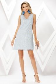 Rochie de zi mini Ejolie bleu din voal cu flori albe si aurii