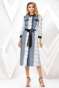 Rochie de zi midi Ejolie tip camasa cu imprimeu albastru