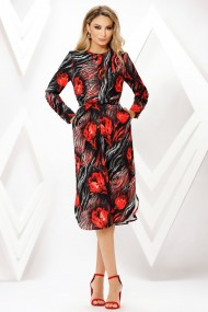 Rochie de zi midi Ejolie neagra cu imprimeu rosu