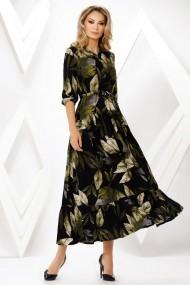 Rochie de zi lunga Ejolie neagra cu imprimeu kaki