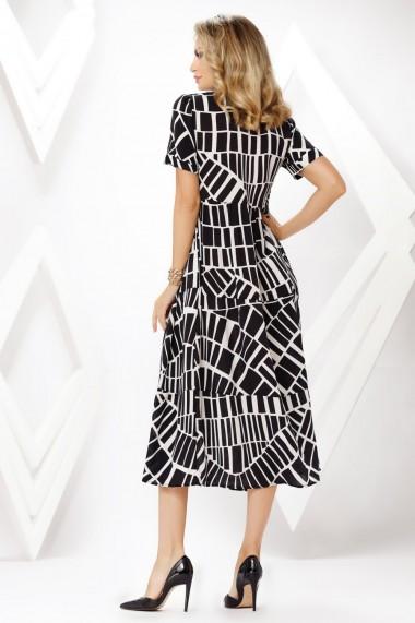 Rochie de zi lunga Ejolie neagra tip camasa cu imprimeu alb