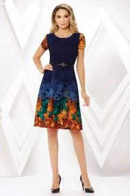 Rochie de zi midi Ejolie bleumarin cu imprimeu maro