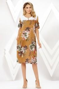 Rochie de zi midi Ejolie maro deschis din in cu imprimeu floral