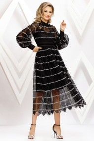 Rochie de seara midi Ejolie neagra din plasa cu jupon negru