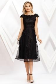 Rochie de seara midi Ejolie neagra din dantela