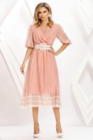 Rochie de seara midi Ejolie roz din voal cu centura in talie