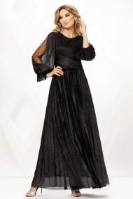 Rochie de seara lunga Ejolie neagra din voal cu sclipici