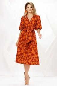 Rochie de zi midi Ejolie portocalie cu imprimeu cu maneci bufante si cordon maxi