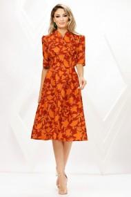Rochie de zi midi Ejolie portocalie cu imprimeu din stofa cu cordon maxi