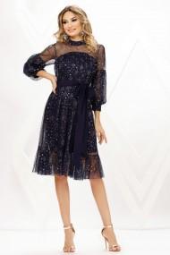 Rochie de seara midi Ejolie bleumarin din voal cu stelute