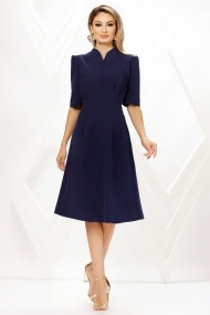 Rochie de zi midi Ejolie bleumarin din stofa cu cordon maxi