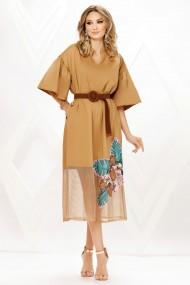 Rochie de zi midi Ejolie camel din bumbac cu insertie din plasa