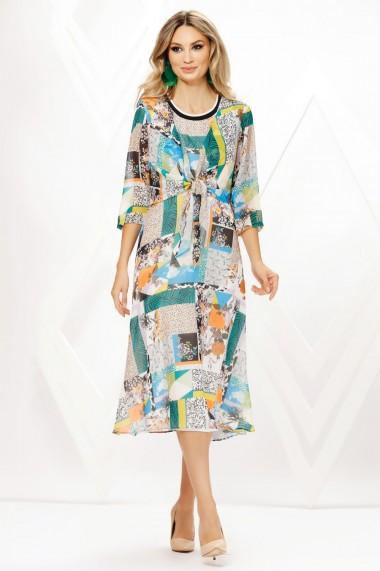 Rochie de zi midi Ejolie din voal cu imprimeu divers