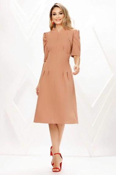 Rochie de zi midi Ejolie crem roze din stofa cu cordon maxi