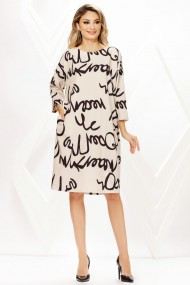 Rochie de zi midi Ejolie crem cu imprimeu negru