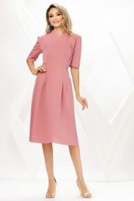 Rochie de zi midi Ejolie roz pastel din stofa cu cordon maxi