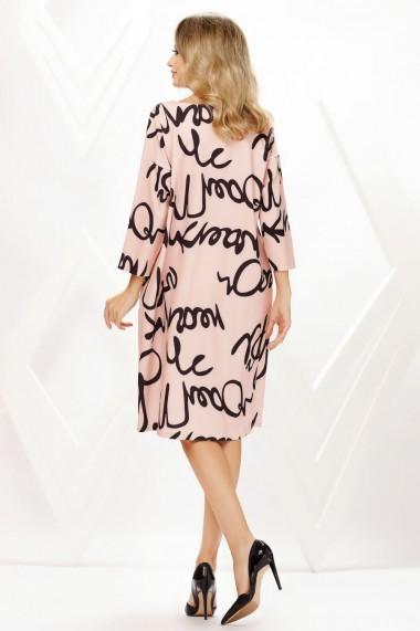 Rochie de zi midi Ejolie roz cu imprimeu negru