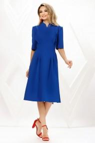 Rochie de zi midi Ejolie albastra din stofa cu cordon maxi