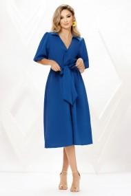 Rochie de zi midi Ejolie albastra cu maneci bufante si cordon maxi