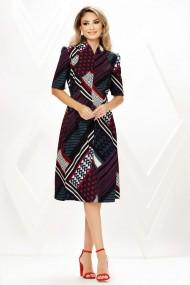 Rochie de zi midi Ejolie cu imprimeu divers din stofa cu cordon maxi