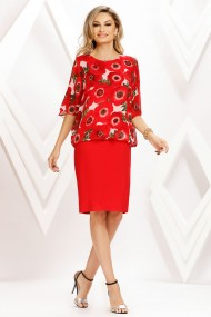 Rochie de zi midi Ejolie rosie cu bluza din voal