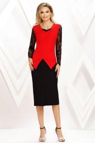 Rochie de seara midi Ejolie rosu cu negru si maneci din dantela