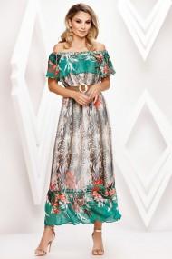 Rochie de zi lunga Ejolie din voal cu imprimeu