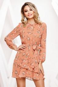 Rochie de zi mini Ejolie portocaliu cu imprimeu si volan