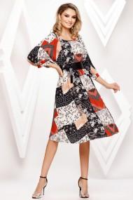 Rochie de zi midi Ejolie plisata cu imprimeu