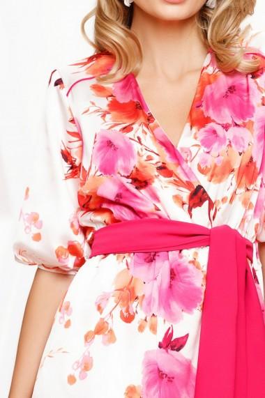 Salopeta Thalia alba cu imprimeu roz si cordon in talie